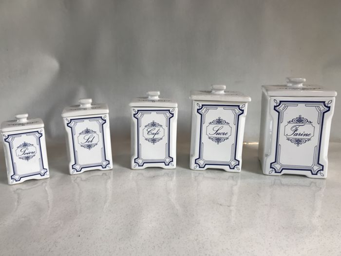 set of 5 porcelain kitchen jars