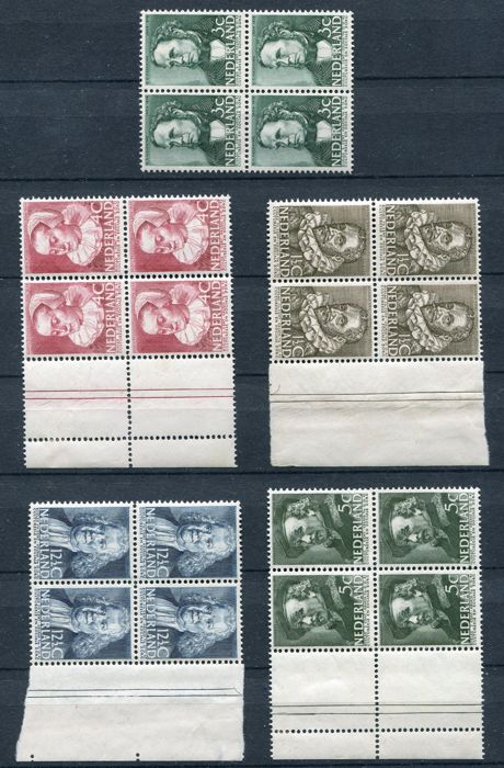 Netherlands 1938 - Summer stamps in blocks of four - NVPH 305/309