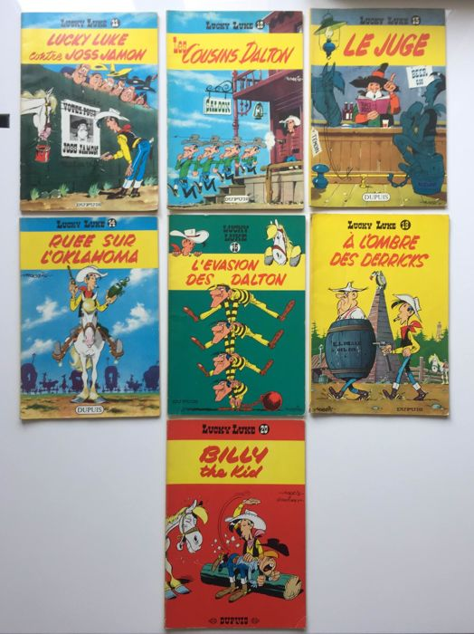 Lucky Luke - T11+T12+T13+T14+T15+T18+T20 - 7x softcover - Reissue (1964)