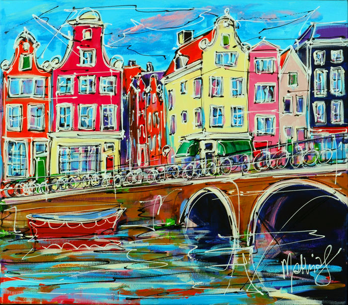 Mathias - Canal of Amsterdam, colored houses and red boat