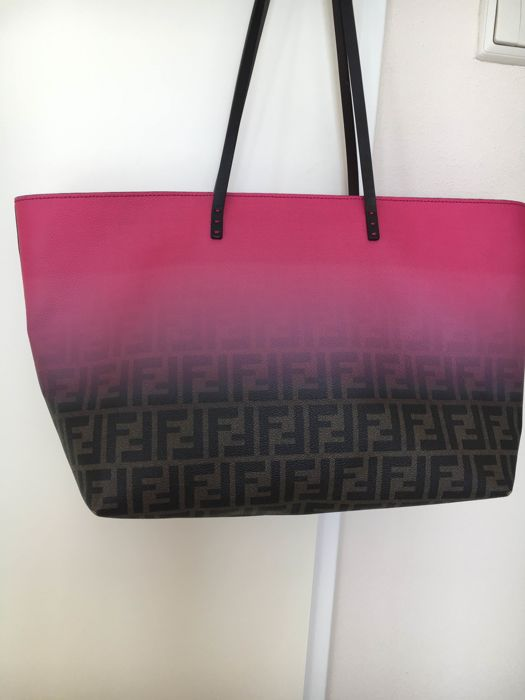 2618ceb36ec9 Fendi - Pink and Brown zucca monogram ombre Tote bag - Limited edition