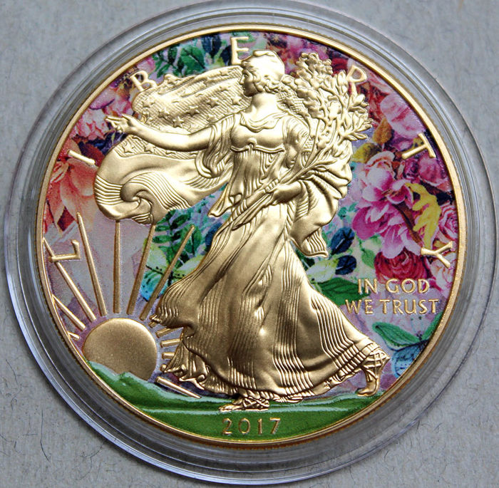 "EE. UU. - 1 Dollar 2017 - Golden Noir - American Eagle ""Summer"" 1 oz - Plata"