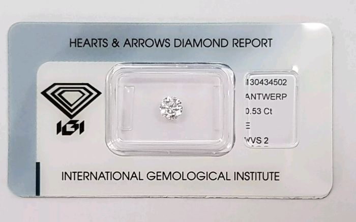 1 pcs Diamant - 0.53 ct - Brillant - E - VVS2