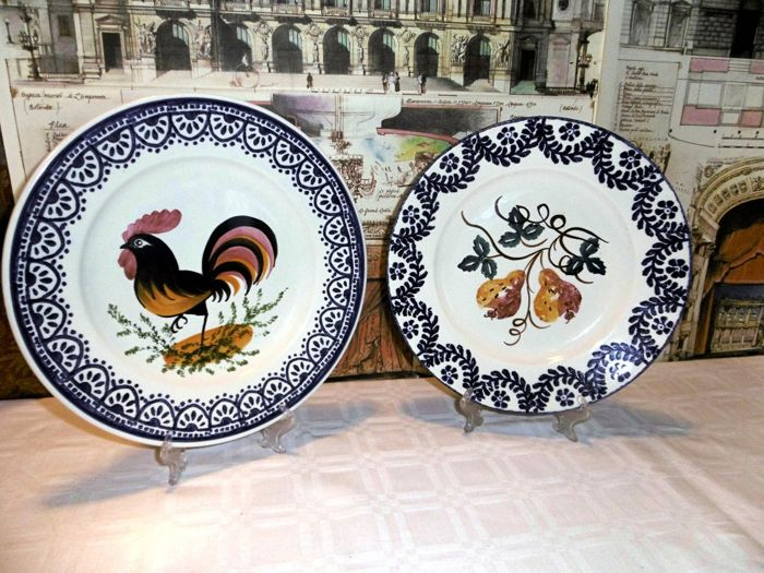 Display ceramic plates decoration with rooster and fruit Vedova Besio \u0026 Figlio manufacture & Display ceramic plates decoration with rooster and fruit Vedova ...