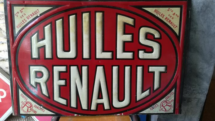 Huiles Renault public limited company sign - 65 x 45 cm