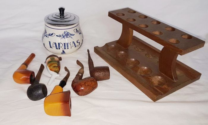 Various pipes -pipe rack (stand) - tobacco jar, second half of the 20th century