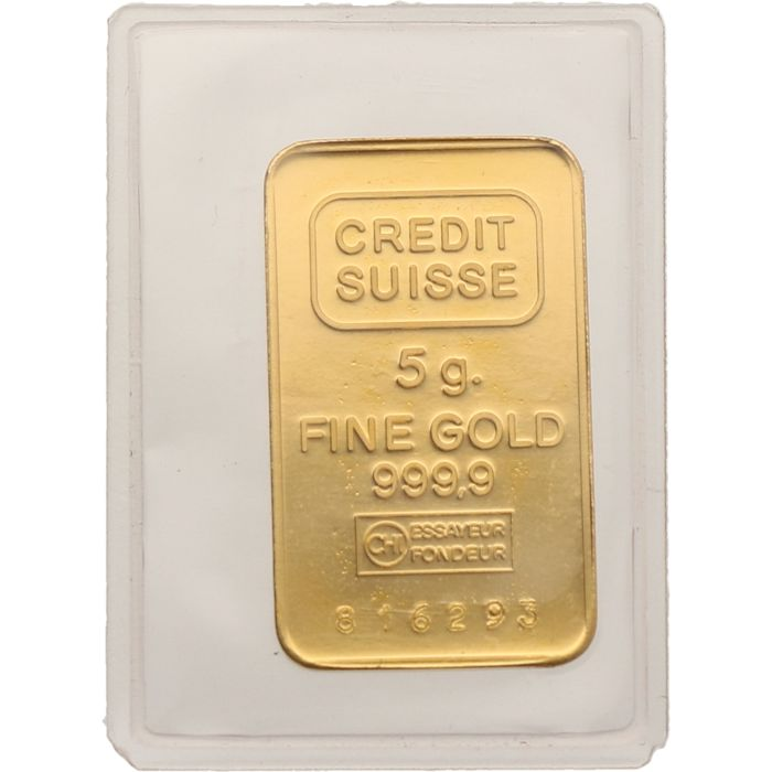5 Grams gold bar - Fine gold 999/1000 - Credit Suisse