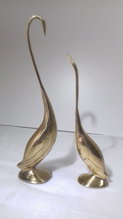 Unknown designer - 2 large copper birds, vintage