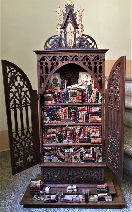Mini bookcase - Venice - cabinet from the beginning of the century - modern crafting of the bookcase - unique piece - Italy