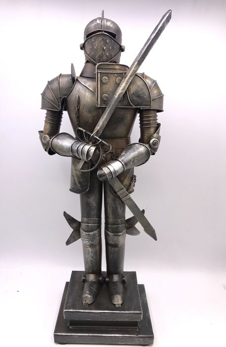 Detailed handmade metal armour on a base - 2nd half of 20th century.