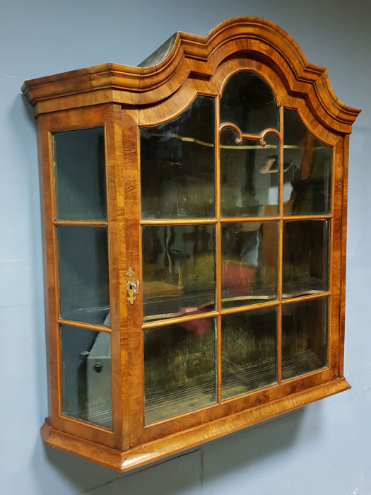 Louis XV burr walnut wall display case, the Netherlands, mid 18th century