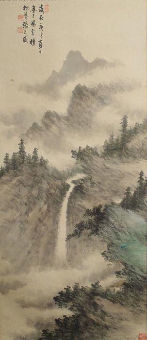 Handpainted hanging scroll  - China - late 20th century