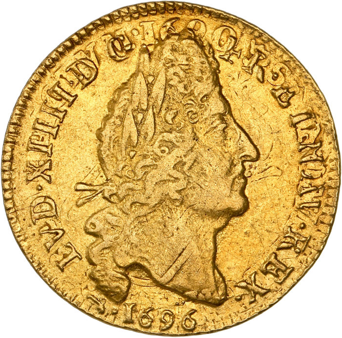 France - Louis XIV - Louis d'or aux 4L 1696-D (Lyon) - or