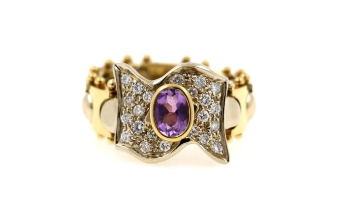 18 kt yellow and white gold chain ring with a total of 0.60 ct of diamonds and 0.80 ct amethyst - ring size: 58 (EU)