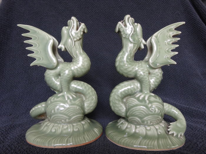 A pair of celadon Longquan dragons - China - late 20th century