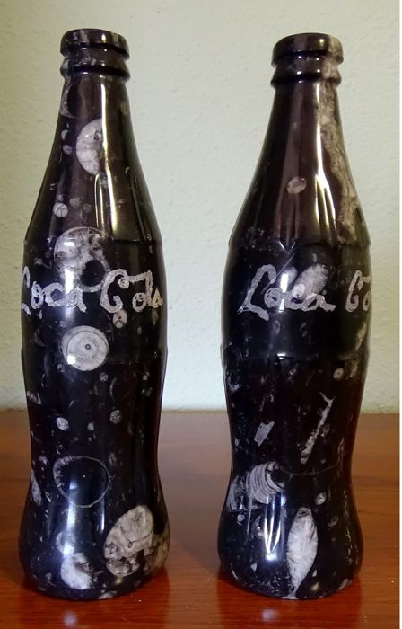 Large bottles carved in fossil stone with primitive forms of life (2)