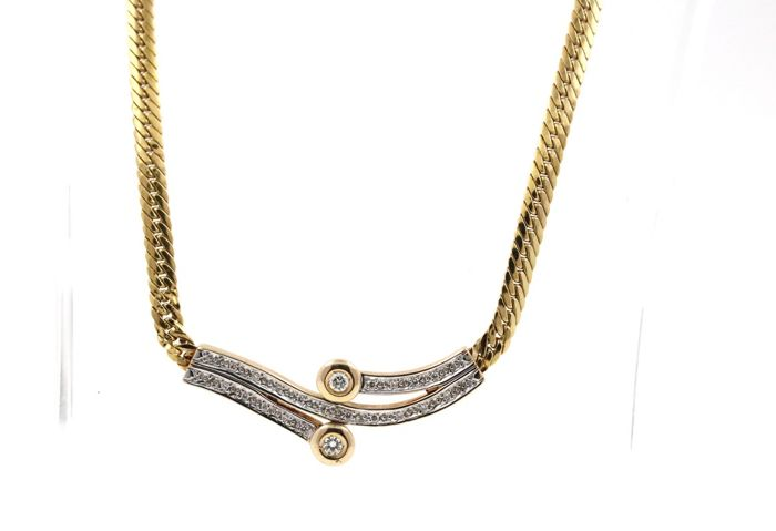 14 kt yellow-white gold curb chain necklace with a total of 0.50 ct diamonds - length: 45 cm