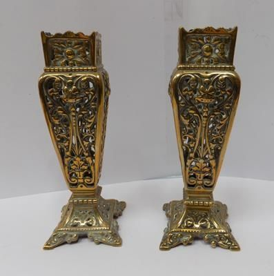 Pair of vintage solid brass vases 19th century