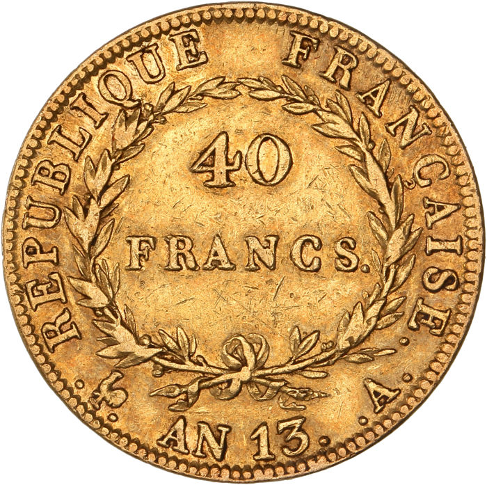 France - 40 Francs An 13 A - Napoléon I - Gold