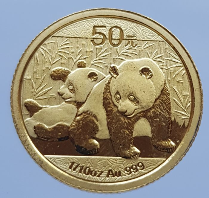 China - 50 Yuan 2010 Panda - 1/10 oz - Goud
