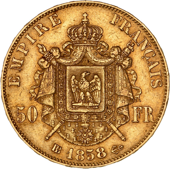 France - 50 Francs 1858 BB - Napoléon III - Gold