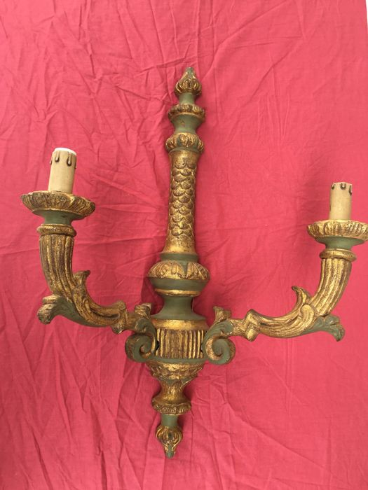 Original sconce, decorated wood and gold leaf - 57 cm Made in Italy - 20th century