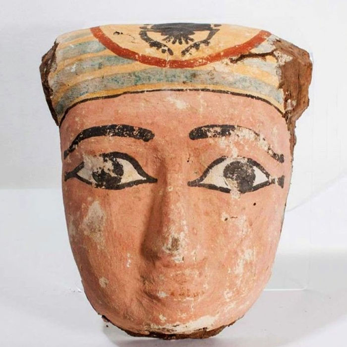 Ancient Egyptian wood mummy mask.  H 26cm