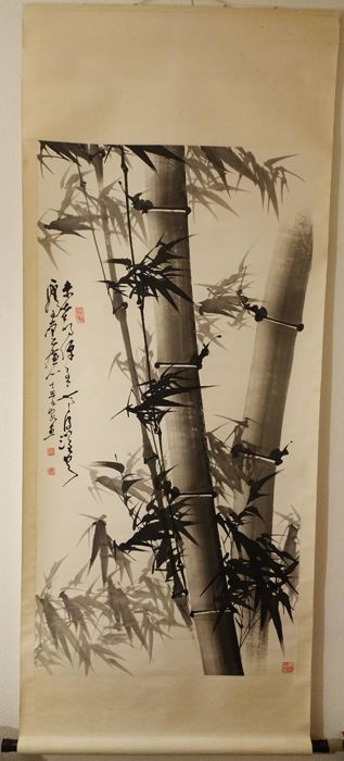 "Hanging scroll by unknown Artist ""Bamboo"" - China - late 20th century"