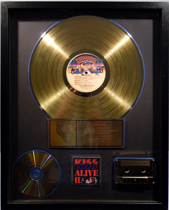 KISS - Alive II - real US RIAA Gold Award goldene Schallplatte - original Sales Music Record Award ( Golden Record )