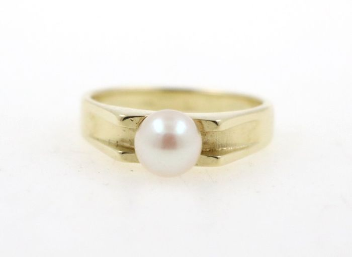 14 kt yellow gold women's ring with salt water - cultured pearl - ring size: 55 (EU)