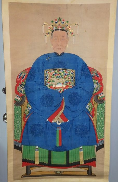 Large Ancestor portraits of a lady - China - 19th century