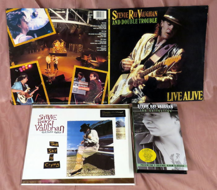 Stevie Ray Vaughan: Twee albums: Live Alive (dubbele LP) en The Sky is Crying plus een CD-box (drie schijven)