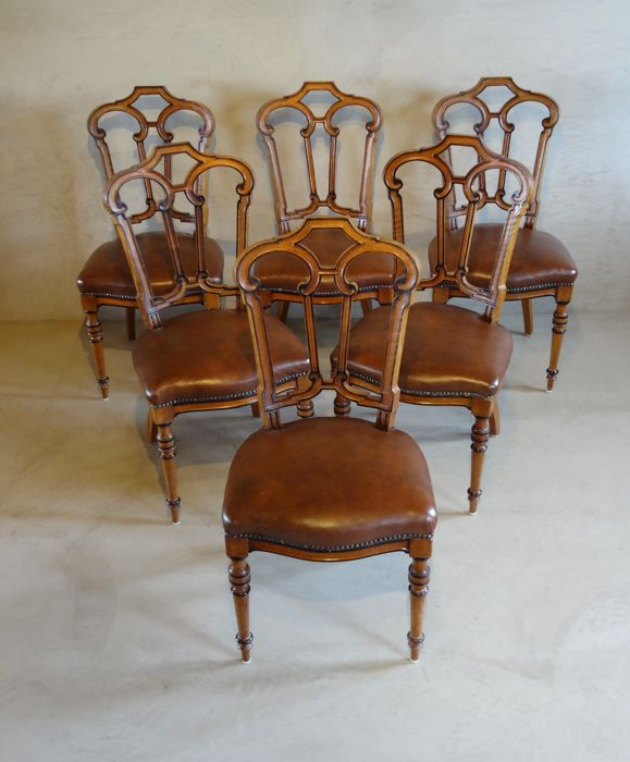 "A set of six stamped ""Horrix te 's-Gravenhage"" walnut (dining room) chairs - the Netherlands - circa 1860/1880"