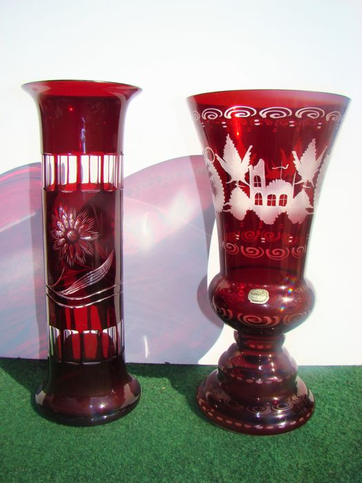 Bohemia Cranberry Red Engraved Etched Vases Catawiki