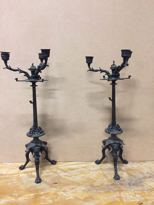 Pair of bronze candlesticks in Renaissance style, probably Italy, late 19th century