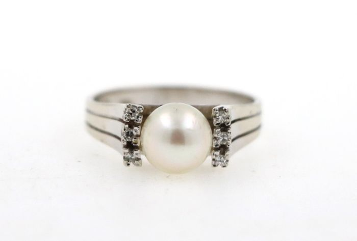 Women's ring made of white gold 585/14 kt with salt water cultivated pearl and diamonds - size 55 (EU)