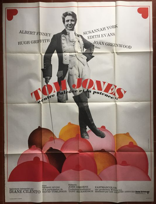 Tom Jones - Affiche de cinéma originale française - 1975 - Albert Finney, Susannah York