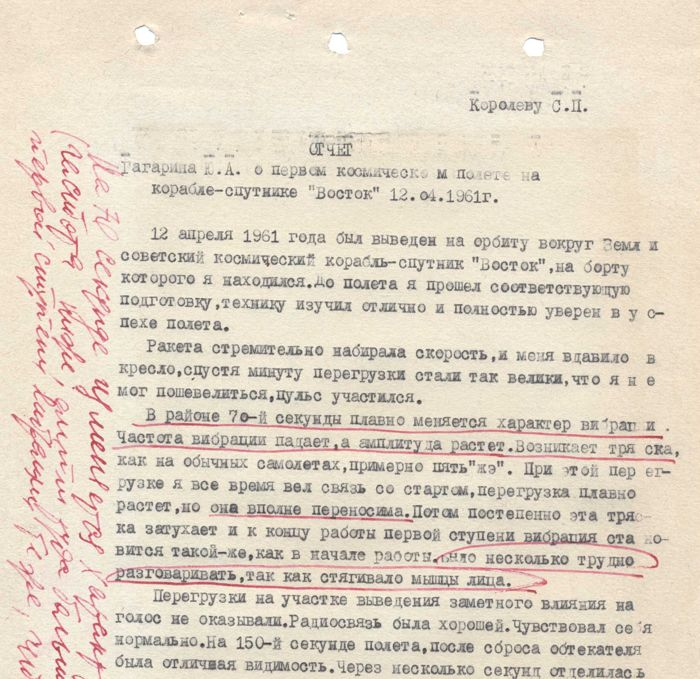 Copy Report of the Gagarin flight + Koroljovs remarks - EXTREMELY RARE
