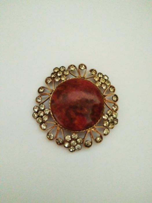 set 3ps. Vintage Brooch with natural stones jasper, silver sample 875 Russia 1950-1960's