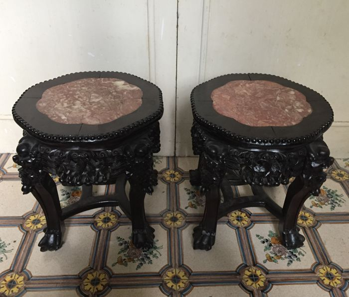 Pair of vase stands / stools - China, 19th Century