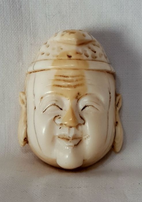 Ivory netsuke, 'Ebisu' mask - Japan, late 19th/early 20th century (Meiji period)