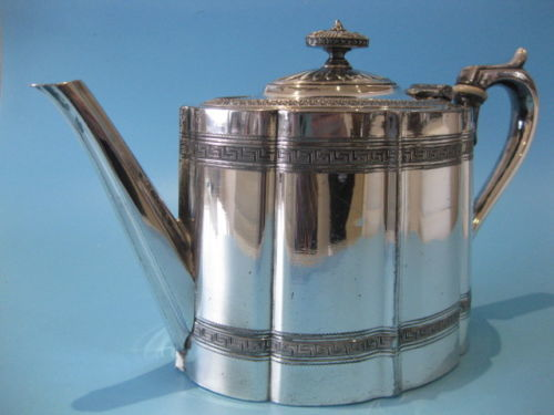 Old silver plated Victorian teapot by Jams Dixon & Sons 1881