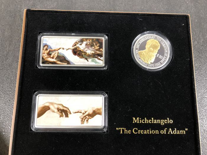 20 x 20 $1 x $10 - Fiji 2012 - Great Works of Art - Michelangelo - 5 oz 999 silver colour edition - Edition only 500 pieces box & certificate