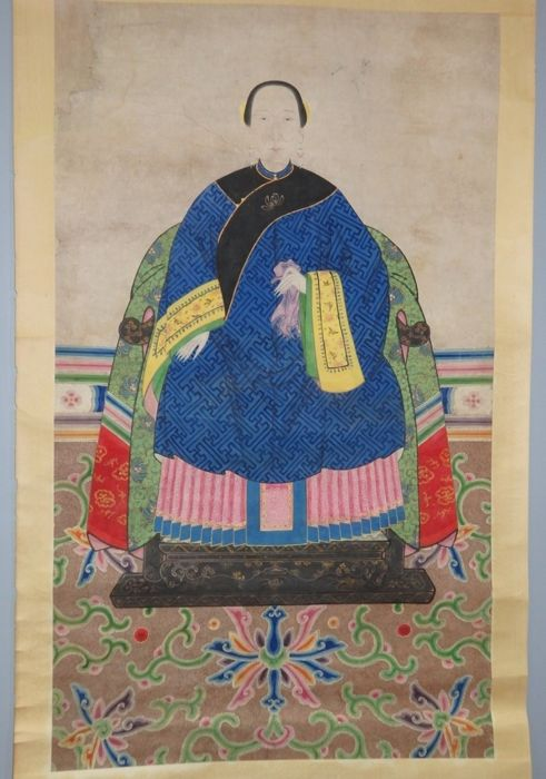 "Ancestor portrait of a lady in blue robe holding pink handkerchief on a colorful carpet. with ""Certificate of Antiquity"" - China - 19th century"