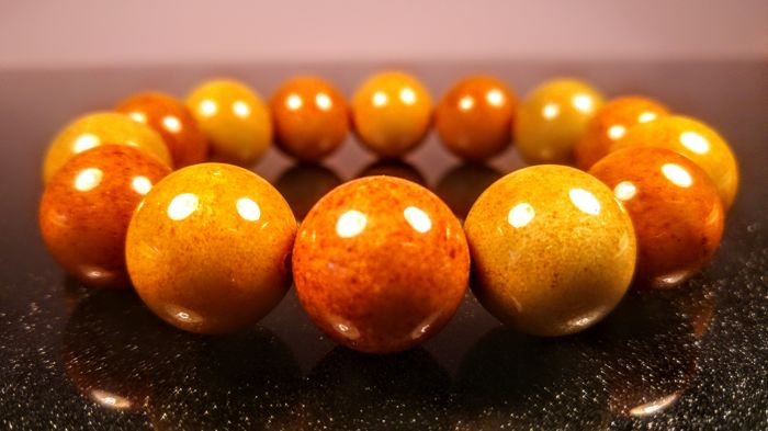 Modified round beads Baltic Amber  bracelet, 41 grams
