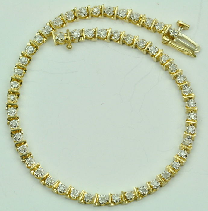 14 kt gold river bracelet set with diamonds of 2.50 ct, I/SI *No reserve*