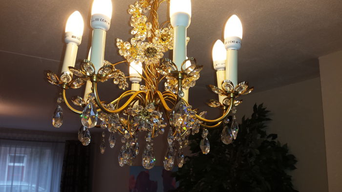 Crystal eight-point chandelier, 20th century