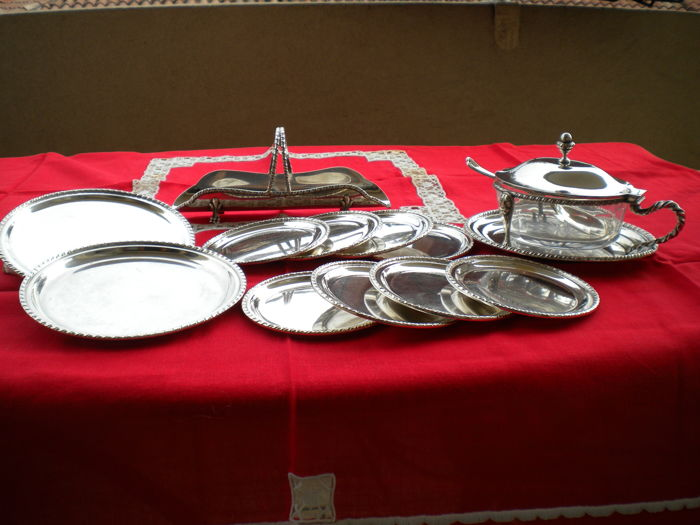 tableware - Group of 12 - .800 silver - argentiere veneziano - Italy - 1950-1999