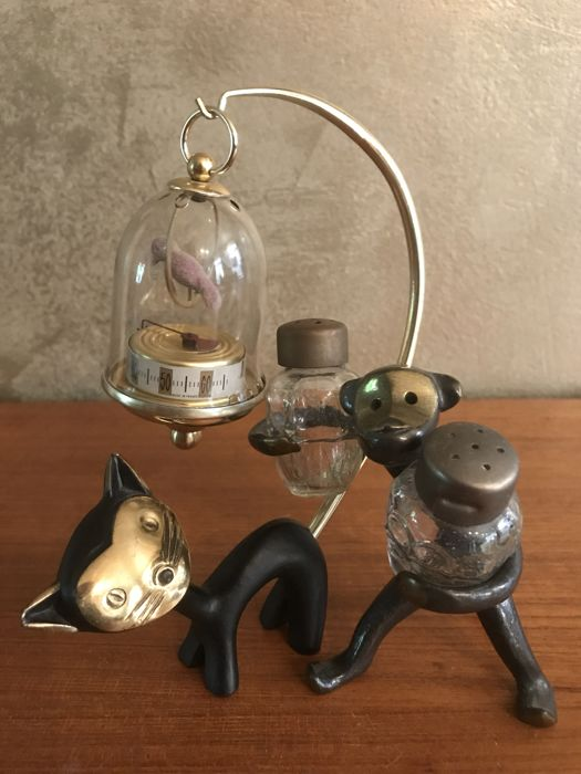 Walter Bosse - Bronze Designer thermometer with cat and Monkey pepper and salt
