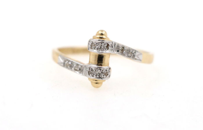 14 kt yellow and white gold ladies' ring with a total of 0.10 ct of diamonds - ring size 54 (EU) - free size adjustment